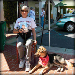 Excited raffle prize winner Nadine and her dog Junebug. Won signed copy of Cesar Millan's book, Cesar's Way: The Natural, Everyday Guide to Understanding and Correcting Common Dog Problems.